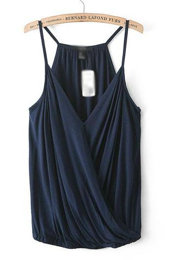 Navy Blue Wrap V Neck Camisole Top ROS