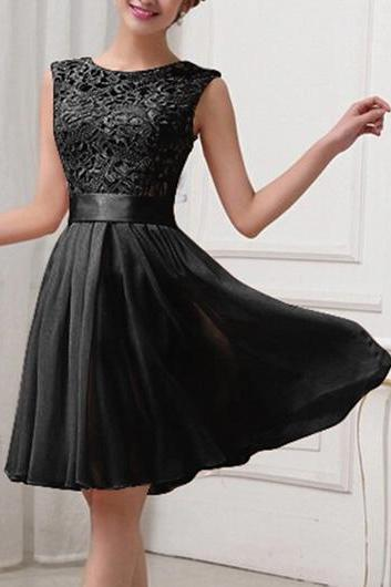Lace and Chiffon Patchwork Black Skater Dress ROS