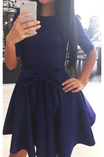 Navy Blue Bowknot Decorated Skater Dress ROS