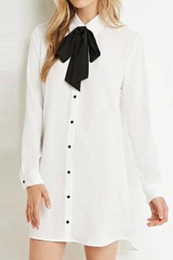 White Long Sleeve Bowknot Decorated Shirt Dress ROS