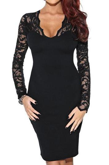 Lace Long Sleeve V Neck Sheath Dress ROS