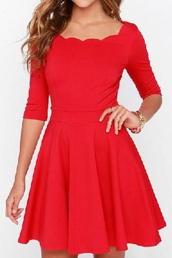 Half Sleeve Round Neck Red Dress ROS