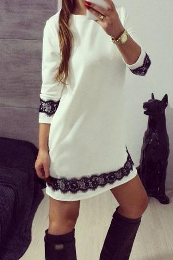 Round Neck Lace Panel Long Sleeve White Dress ROS