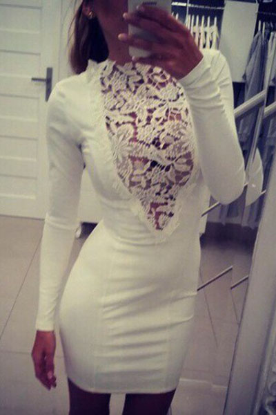Sexy O Neck Long Sleeves Hollow-out Lace Patchwork White Cotton Blend Sheath Mini Dress