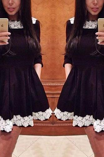 Fashion O Neck Half Sleeves Lace Trim Black Mini Dress
