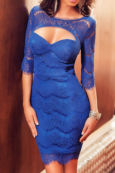Sexy O Neck Half Sleeves Backless Cut-out Blue Eyelash Lace Sheath Mini Dress