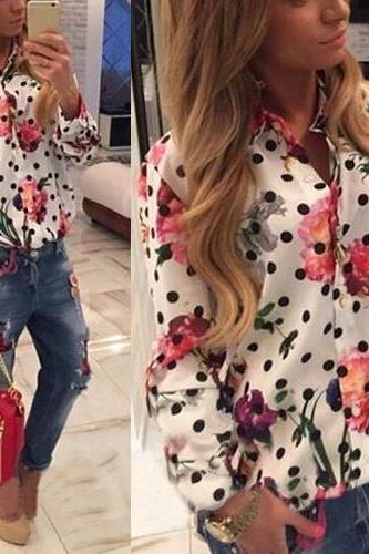 European Turndown Collar Long Sleeves Single-breasted Polka Dots Floral Print White Polyester Shirt