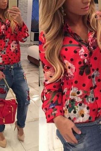 European Turndown Collar Long Sleeves Single-breasted Polka Dots Floral Print Red Polyester Shirt