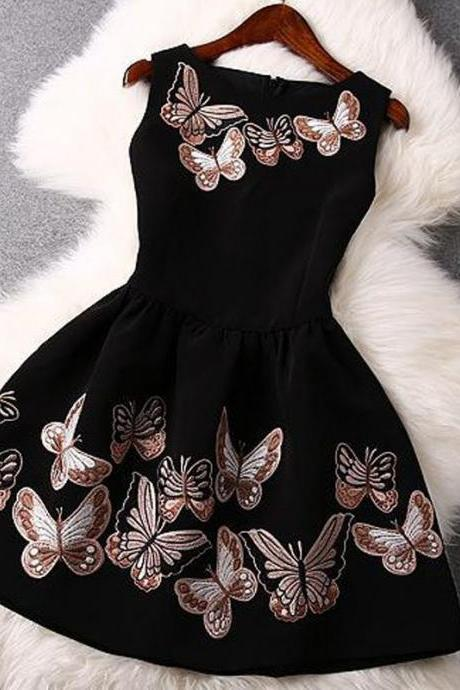 Stylish O Neck Tank Sleeveless Print Black Polyester Mini Dress