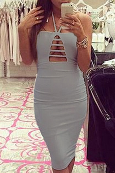 Sexy Off The Shoulder Sleeveless Hollow-out Grey Cotton Blend Sheath Knee Length Dress
