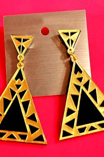 Fashion Patchwork Triangle Shaped Gold Metal Earring