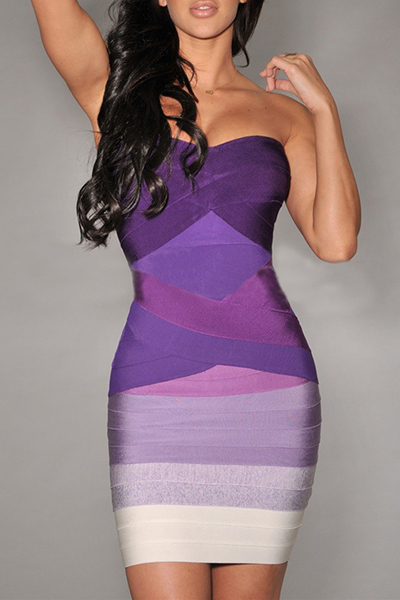 Trendy Bateau Neck Off The Shoulder Sleeveless Print Purple Cotton Blend Sheath Mini Dress