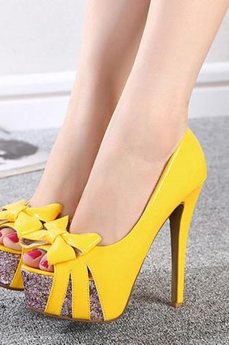 Trendy Round Peep Toe Bow-Tie Stiletto Super High Heel Yellow PU Basic Pumps