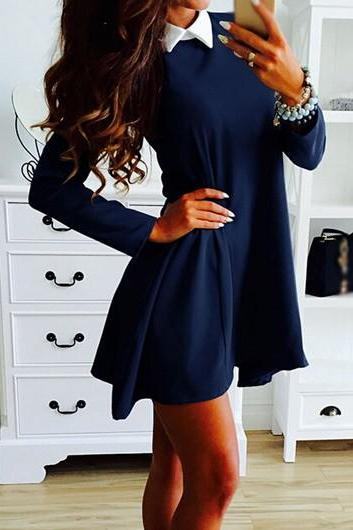 Navy Blue Long Sleeve Peter Pan Collar Dress ROS