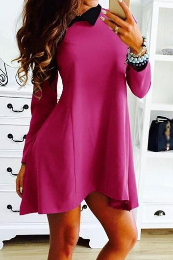 Long Sleeve Peter Pan Collar Pink Shift Dress ROS