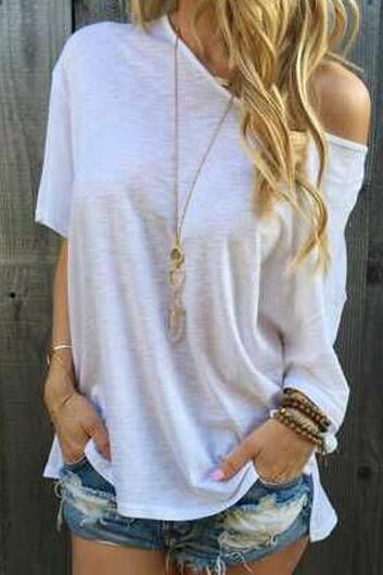 White Double Slit Round Neck T Shirt ROS