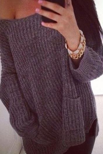 Long Sleeve Dark Grey Cotton Sweater ROS