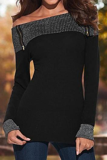 Long Sleeve Off the Shoulder Black T Shirt ROS