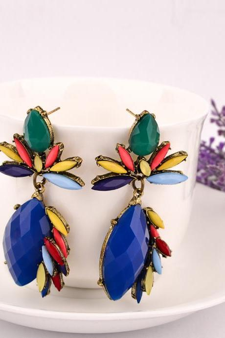 Fashion Gem Decorated Colorful Flower Shaped Metal Earrings