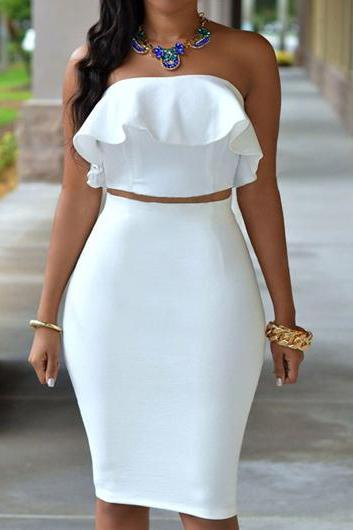 White Strapless Crop Top and Skirt ROS