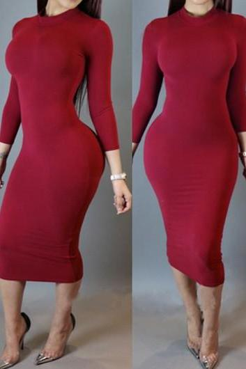 Long Sleeve Solid Red Sheath Dress ROS