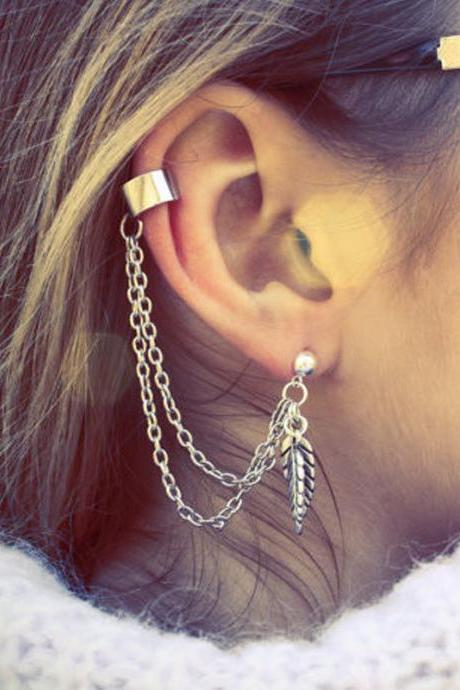 Fashion Women Jewelry Silver Chain Leaf Dangle Earrings Ear Clip Cuff