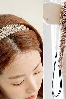 Sweet Women Girls Lace Pearl Hairband Rhinestone Crystal Headband Head Piece