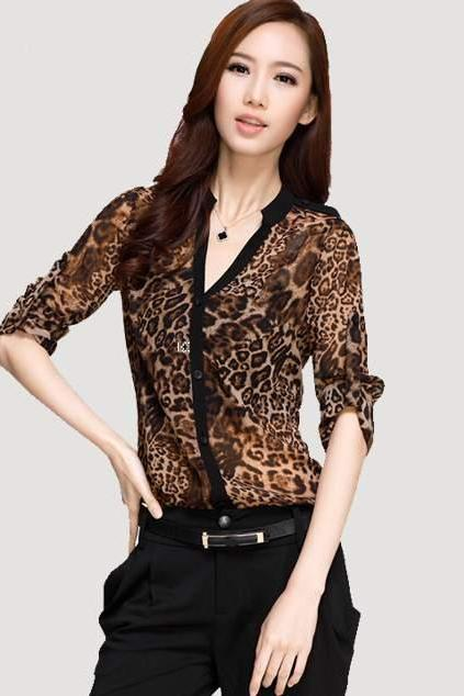 Sexy Womens Summer Chiffon Leopard Loose Blouse Tops Casual Long Sleeve T Shirt