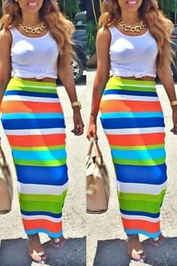 White Tank Top and Colorful Striped Sheath Skirt ROS