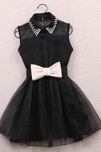 Rhinestone Embellished Turndown Collar Black Dress ROS