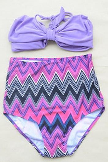 Two-piece Bikini with Purple Bow Top and High Waisted Chevron Print Bottom