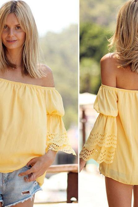 Fashion Women Summer Casual Beach T Shirt Chiffon Blouse Bikini Cover Up Tops FREE SHIPPING!!