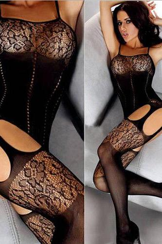 Women's Body stocking open crotch Lace Flower Hot Sexy Lingerie sleepwear black FREE SHIPPING!!