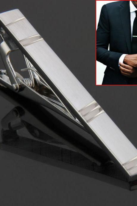 Fashion Hot Simple Men Necktie Silver Tone Metal Clamp Jewelry Decor Tie Clip HC FREE SHIPPING!!