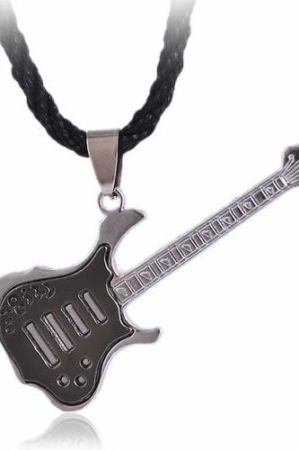 New Fashion Pendent Necklace Men Black Grey Rock Guitar Stainless Steel Jewelry FREE SHIPPING!!