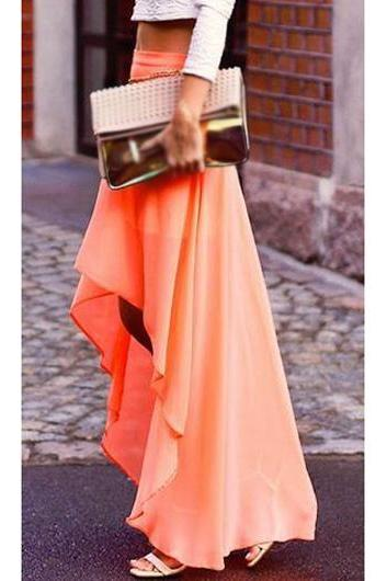 Asymmetric Hem Solid Peach Maxi Skirt ROS