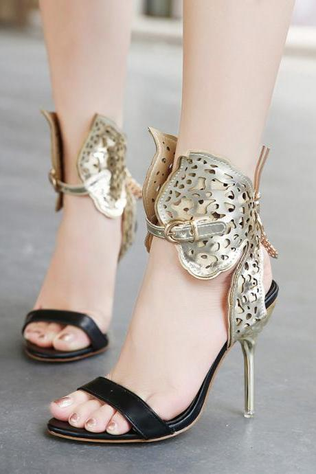 Fashion Hollow-out Butterfly Embellished Stiletto Super High Heel Gold PU Ankle Strap Sandals