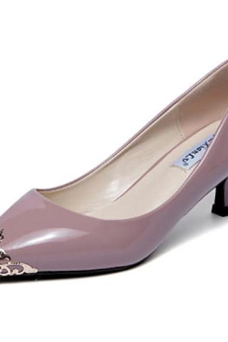 Stylish Pointed Closed Toe Metal Decoration Stiletto Mid Heel Pink Mauve PU Basic Pumps