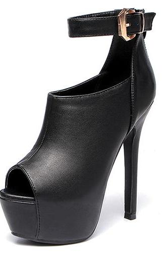 Stylish Round Peep Toe Buckle Design Super High Heel Black PU Ankle Strap Pumps