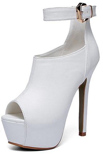Stylish Round Peep Toe Buckle Design Super High Heel White PU Ankle Strap Pumps