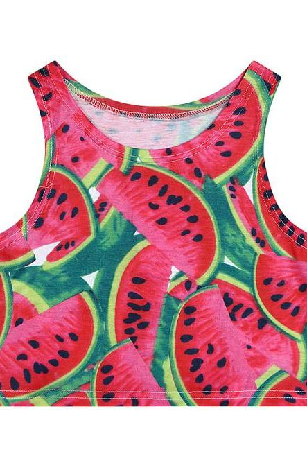 Watermelon Print Cropped Tank Top