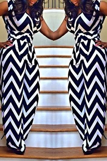 Chevron Print Sleeveless High Waist Jumpsuit ROS FREE SHIPPING