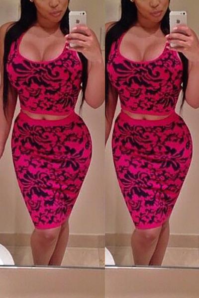 Charismatic U Neck Sleeveless Print Red Polyester Two-piece Skirt Set