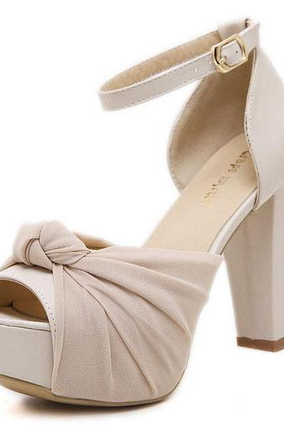 Stylish Open Toe Buckle Hollow-out Chunky Super High Heel Apricot PU Ankle Strap Sandals