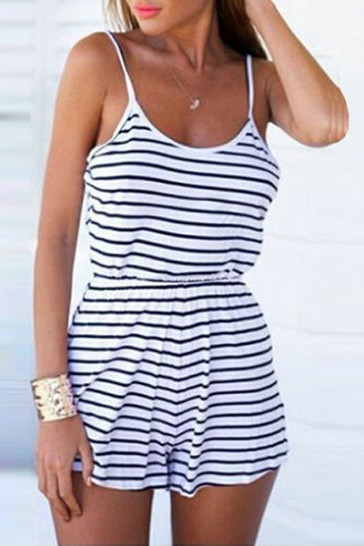 Spaghetti Straps Striped Casual Short Jumpsuit Romper