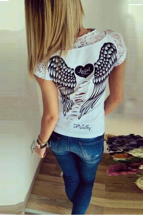 Women T shirt Angel Wings Summer 2016 Black, White
