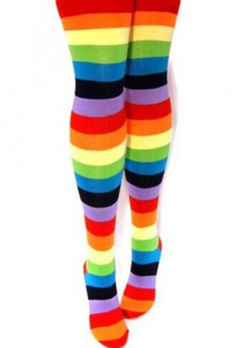 Warm Womens Thigh High Winter Rainbow Striped Knee Ladies High Socks Costume