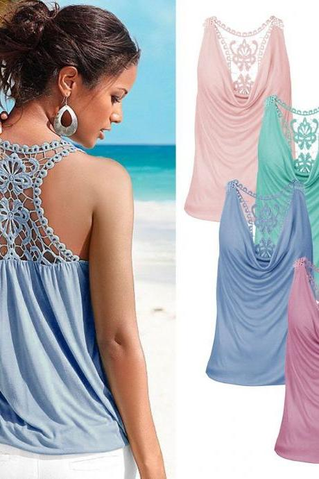 Fashion Women Summer Lace Vest Top Sleeveless Blouse Casual Tank Tops T-Shirt