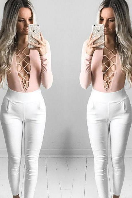 New Women Fashion Sexy Long Sleeve Top Deep V Lace-up Ribbed Jumpsuits Bodysuit