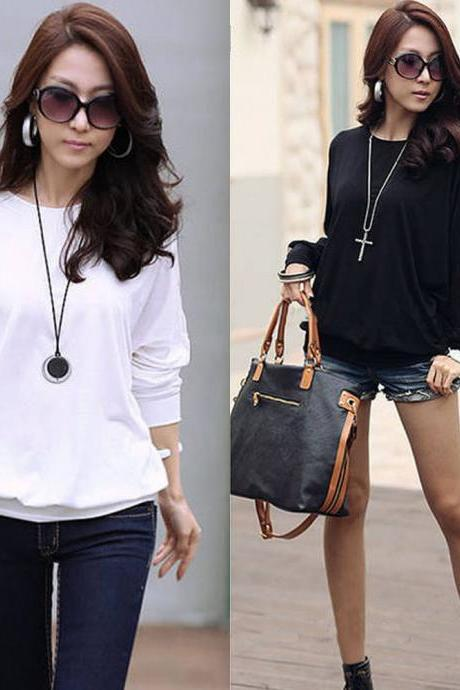 Korean Fashion Womens Summer Loose Tops Long Batwing Sleeve Shirt Casual Blouse
